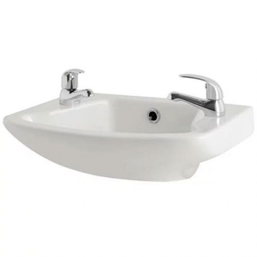 Kartell G4K Cloakroom Basin - 360mm Wide - 2 Tap Hole - White